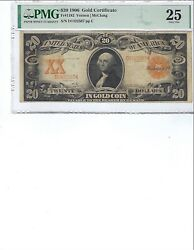 1906 20 Gold Certificate Fr1182 Pmg 25 Vfvernon/mcclung, High Quality
