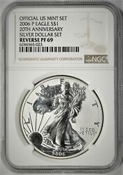 2006-p United States Silver Eagle Reverse Proof 20th Anniversary Ngc Pf69⭐023⭐v1