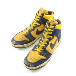 Nike Air Dunk Michigan Color High Cut Navy X Yellow Menand039s Us8 80s Vintage Used