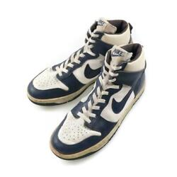 Nike Dunk High High Cut Leather Navy X White Menand039s Size Us9 1986 Rare Vintage
