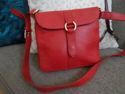 COLE HAAN RED PEBBLE LEATHER SMALL CROSSBODY BAG $19.99