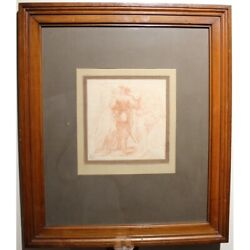 Antique 19th France Rare Original Musketeer Bloodcut Paper Painting Signed Jd