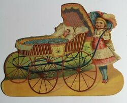 Cute Girl Baby Doll Carriage Large 8x 6.5 Antique Die Cut 1880 Victorian Vtg