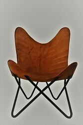 Chair Leather Foam Butterfly Handmade Vintage Brown Relaxing Room Living Chairs