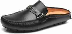 Anufer Menand039s Split Leather Penny Loafers Flat Heel Clogsandmules Household Leather