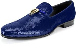 After Midnight 6759 Smoking Slipper With Shiny Sequins Smoker Loafer With Metal