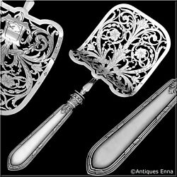Rare French Sterling Silver Mother-of-pearl Asparagus Pastry Toast Server
