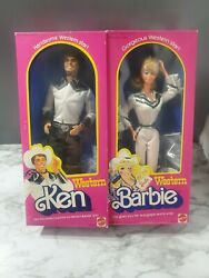 Lot Of 2 1980 Western Barbie And Ken Doll Mattel Nib No. 3600 And 1757