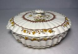 Spode China Buttercup Original Brown Backstamp Round Covered Serving Bowl And Lid
