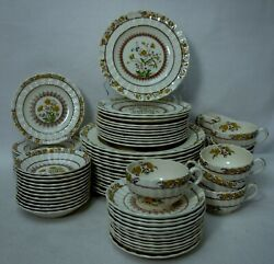 Spode China Buttercup Brown/blue Backstamp 72-piece Set Service For 12