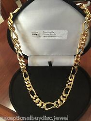 Big Heavy Mens 14k Yellow Gold Clad Figaro Chain Necklace 22 In 100 Gr 8mm