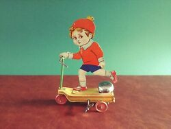 Rare 1920's Fischer Tin Wind-up Child On Auto Scooter Tinplate Gely Levy