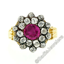 Antique 14k Gold And Silver Gia Certified Burma No Heat Ruby Diamond Cocktail Ring