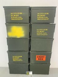 Pack Of 10 Genuine Us Military Surplus Ammo Cans M2a2 M2a1 .50 Cal.