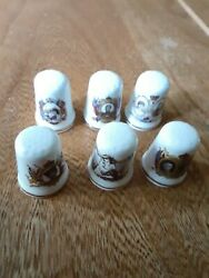6 Vtg St.georges Bone China England Collectible Thimbles Lot