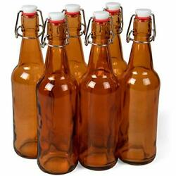 16 Oz. Amber Glass Grolsch Beer Bottles Pint Size Andndash Airtight Seal With Swing ...