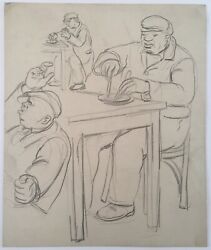 David Fredenthal American Wpa Pencil Drawing Signed Listed