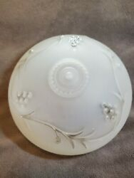 Vintage White Frosted Milk Glass Ceiling Lamp Shade W/grape Berry Design 7½
