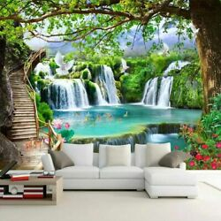 3d Waterfall Nature Landscape Wall Mural Wallpaper Living Room Bedroom Lounge