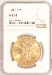 1900 20 Gold Liberty Double Eagle Coin Ngc Ms63 Pre-1933 Gold