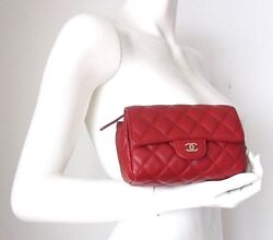 Red Leather Mini Classic Clutch Bag Mirror Cc Cosmetic Makeup Case Pouch