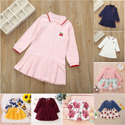 Kids Baby Girls Long Sleeve Dress Printed Casual Holiday Party Swing Dresses Us