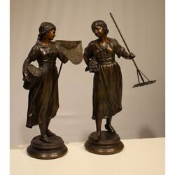 Antique 19th France Pair Statues Figurine Spelter Fisherwoman And Gleaner 37cm