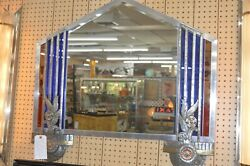 Beautiful Art Deco Mirror With Blue Glass