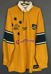 Long Sleeve Menand039s Rugby Union Australia Wallabies 1999/2000 Shirt Jersey Size L