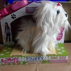 Animagic Pink Fluffy Plush Dog Walking Puppy Terrier New With Leash