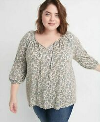Ryllace Nwt Bellissima Cream Blue Floral Boho Knit Top Size 1x