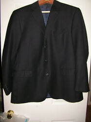 Navy Pinstripe Hart Schaffner And Marx Gold Trumpeter 46r 3-button Suit S4