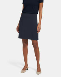 335 Nwt Theory Easy Waist A-line Crepe Nocturne Navy Skirt Sz 0