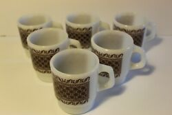 Lot Of 6 Stackable Anchor Hocking Milk Glass Coffee Mugs Brown Rug Pattern
