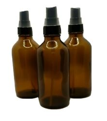 3 Amber Glass Spray Bottles For Essential Oils 4 Oz. Each With Pump Sprayers