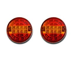 E-marked 2 X 24v Hamburger Led Rear Lights Tail Lamps Truck Chassis Tractor Bus