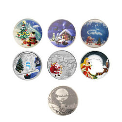 6pcs Christmas Souvenir Coin 999.9 Silver Plated Metal Coins For Child Gifts