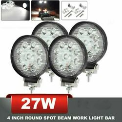 4x Round 27w Led Work Light Pods Flood Spot Lamp Car Truck Off Road Offroad Suv