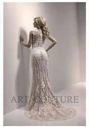 Art Couture Beaded Wedding Dress/gown Us Size 4 Classic Vintage Boho Must See