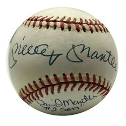 Mickey Mantle And David Mantle 2 Son Autographed Signed Baseball - Jsa Certifie