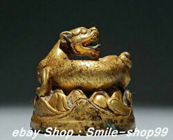 2.7 Old Zhan Dynasty Pure Bronze Gold Gilt Palace Animal Tiger Beast Statue
