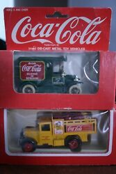 2coca Cola Die Cast Metal Toy Delivery Trucks Green 1967, Yellow 1979