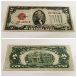 Vintage 1928-e 2 United States Note Two Dollar Bill Jefferson Red Seal Vinson
