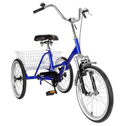 Adult Folding Tricycle Bike 3 Wheeler Bicycle Portable Tricycle 20wheels Blu A3