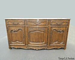 Antique Oak Wood French Sideboard With Antique Harware