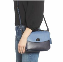 Coach Cassie Leather And Genuine Snakeskin Xbody Handbag Washed Chambray 73768 Nwt
