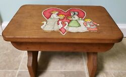 Vintage Wooden Step Stool Hand-painted From The 1980's.