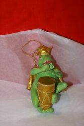 Holiday Ornament Frog King Mixed Media Playing Drum Sparkly Coat