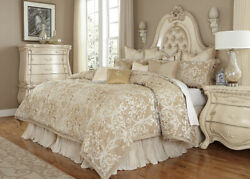Michael Amini Luxembourg Creme 13pc King Comforter Bedding Set By Aico