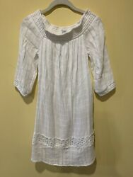 Crown amp; Ivy Women's Off Shoulder Women's Dress White Size XS Lined Eyelet Detail $16.87